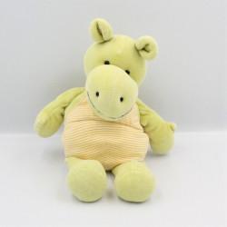 Doudou et compagnie hippopotame vert salopette rayé orange