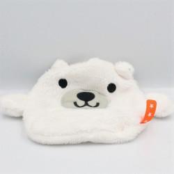 Doudou plat ours polaire blanc étiquette orange avec étoiles