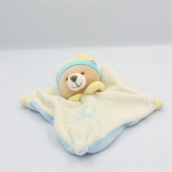 Doudou et compagnie plat ours blanc bleu ciel jaune