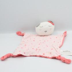 Doudou plat ours blanc rose gris étoiles TAPE A L'OEIL