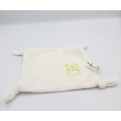 Doudou plat carré blanc ours vert DE GROOTE