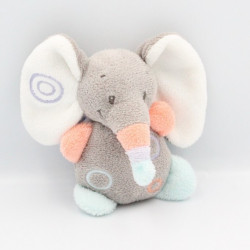 Doudou attache tétine éléphant gris orange bleu mauve Bubbles NATTOU