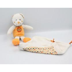 Doudou ours blanc orange pois mouchoir NICOTOY