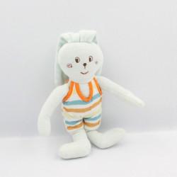 Doudou lapin bleu rayé orange jaune blanc SUCRE D'ORGE