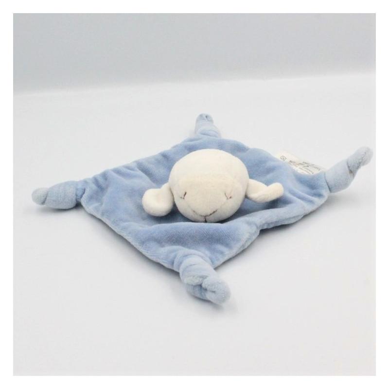 Doudou plat mouton blanc bleu AVENE PEDIATRIL Mouton Plat Semi plat
