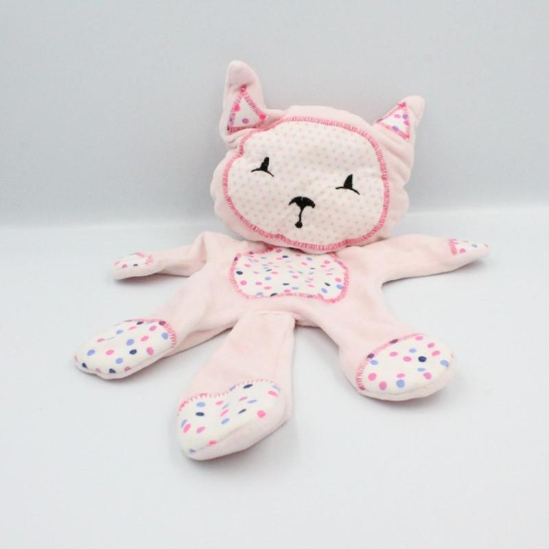 Doudou semi plat chat rose blanc pois étoiles