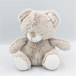 Doudou ours marron beige blanc TEX