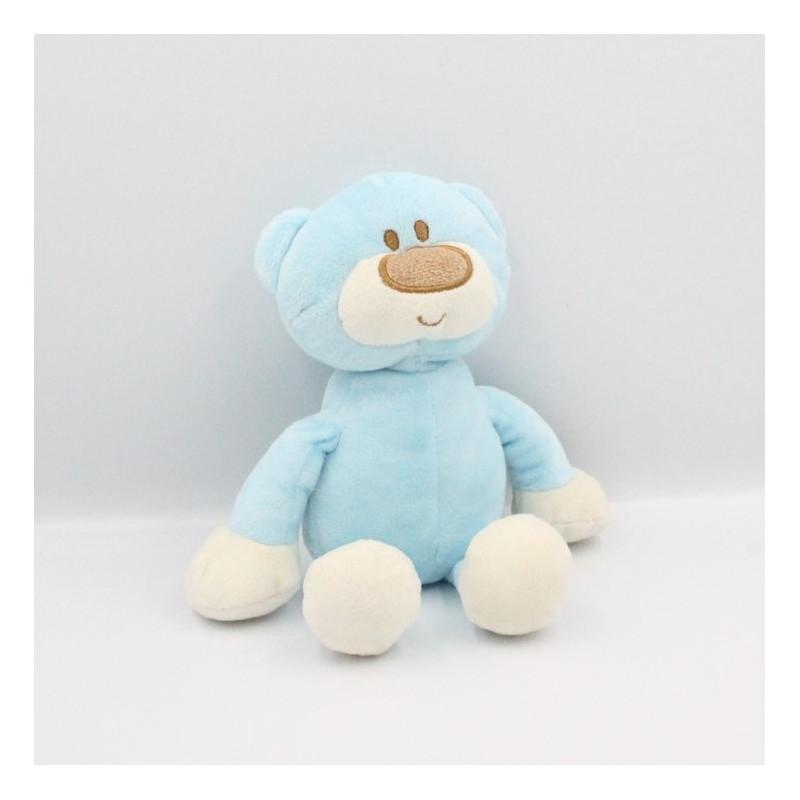 Doudou ours bleu blanc TOM & KIDDY TOMKIDS
