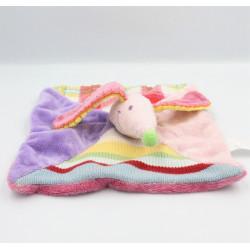 Doudou plat souris rose mauve rayé laine HAPPY HORSE