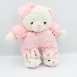 Ancienne peluche ours blanc rose étoiles nuages chaussons lapin