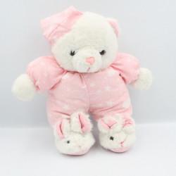 Ancienne peluche ours blanc rose étoiles nuages chaussons lapin