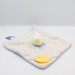 Doudou plat oiseau canard gris bleu bouton CHICCO