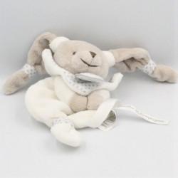 Doudou et compagnie attache tétine lapin blanc gris étoiles