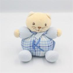 Mini Doudou chat bleu carreaux K KALOO