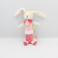 Doudou et compagnie hochet baton lapin rose vert ALINEA