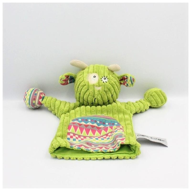 Doudou marionnette vache verte motifs GLOBE TROTOYS CORA