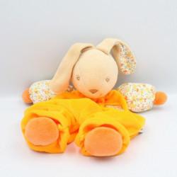 Doudou semi plat lapin orange fluo fleurs QUE DU BONHEUR