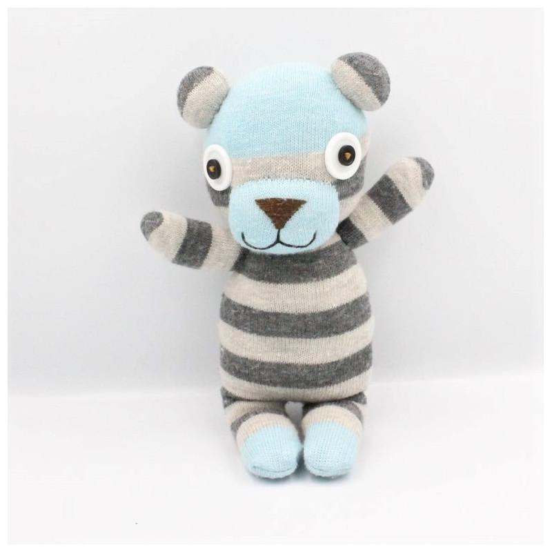 Doudou ours laine rayé bleu gris yeux boutons