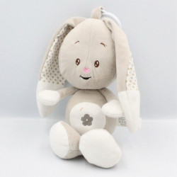 Doudou musical lapin beige blanc coeurs AUCHAN BABY