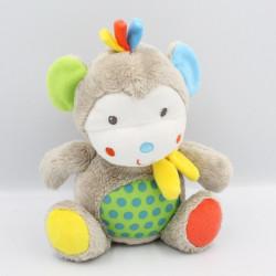 Doudou singe beige vert bleu rouge pois NICOTOY SIMBA TOYS