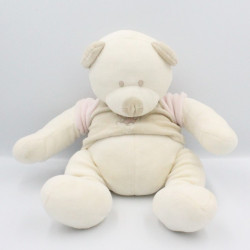 Doudou musical ours blanc beige rose VACO
