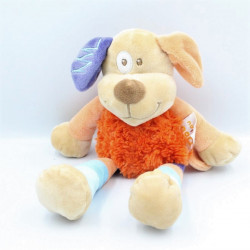 Doudou chien orange beige bleu violet DOUKIDOU