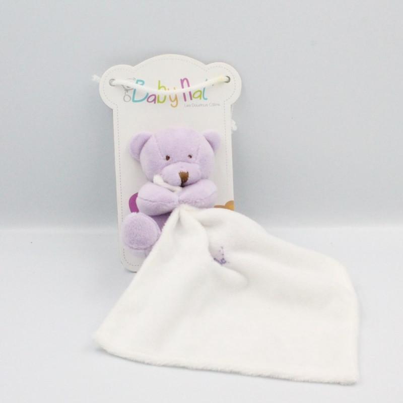 Doudou plat ours mauve avec mouchoir Baby nat