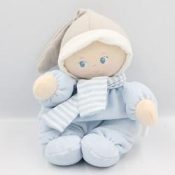 Doudou poupée poupon bébé bleu gris echarpe rayé COROLLE