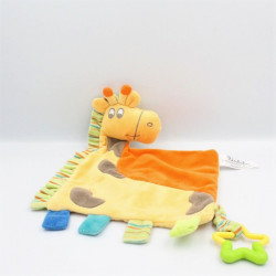 Doudou plat girafe jaune orange vert bleu étoile KIMBALOO