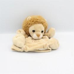 Doudou plat marionnette lion écru beige HISTOIRE D'OURS