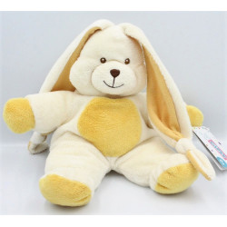 Doudou lapin blanc beige jaune GIPSY