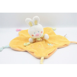 Doudou plat lapin blanc orange jaune abeille NICOTOY