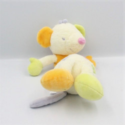 Doudou musical souris blanche orange verte rose SAUTHON