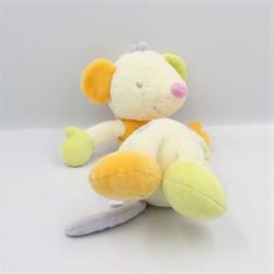 Doudou musical souris blanche orange verte rose SAUTHON