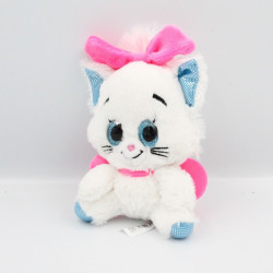 Doudou chat blanc bleu rose yeux brillants Marie Les Aristochats Disney