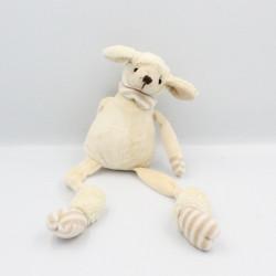 Doudou mouton blanc beige rayé LES PETITES MARIE