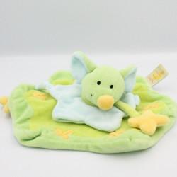 Doudou plat souris vert bleu jaune BABY LUNA