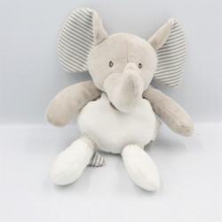 Doudou pantin éléphant gris blanc rayé BABY NAT