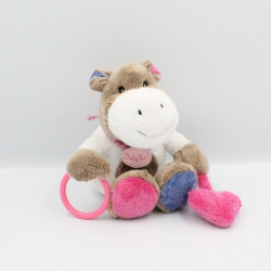 Doudou vache marron rose blanc coeur Nature BABY NAT