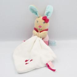 Doudou lapin beige rose bleu mouchoir BABY NAT