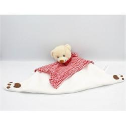 Doudou plat ours blanc rouge vichy CROIX ROUGE