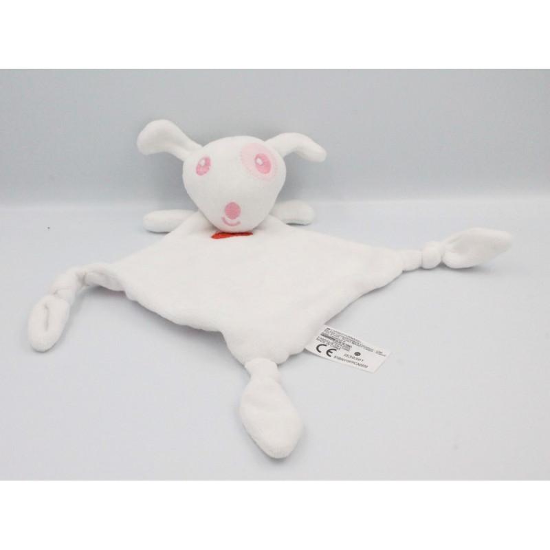 Doudou plat chien blanc rose coeurs CARREFOUR