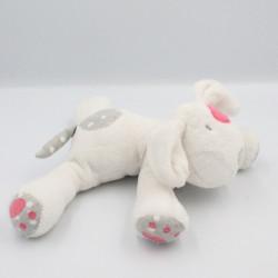 Doudou chien blanc gris rose cocard OBAIBI