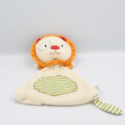 Doudou plat lion beige orange rayé vert OXYBUL
