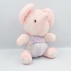 Peluche Puffalump éléphant rose violet mauve pois Je t'aime