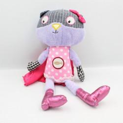 Doudou chat mauve violet rose pois cape SOSTRENE GRENES