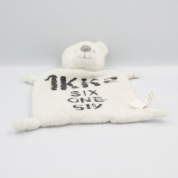Doudou plat ours blanc gris SIx One Six IKKS