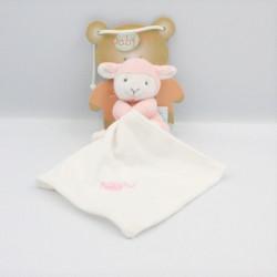 Doudou agneau mouton rose blanc mouchoir BABY NAT
