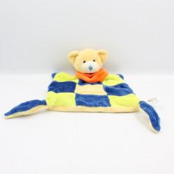 Doudou plat ours bleu vert jaune orange PLAYKIDS