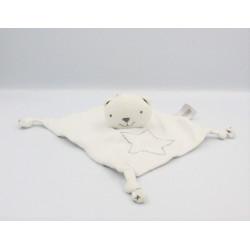 Doudou plat ours blanc gris étoiles ORCHESTRA